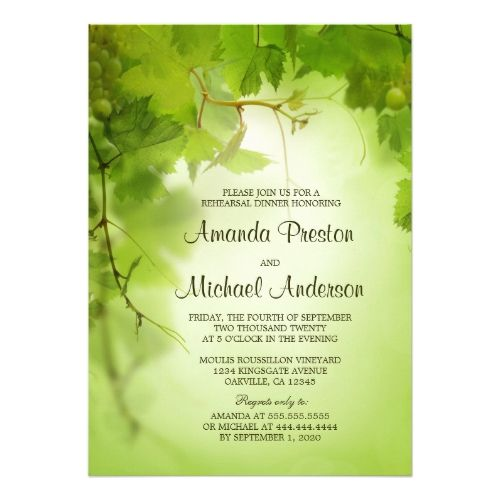 Wine Themed Vineyard Grape Vine Leaves Or Winery Wedding Invitations