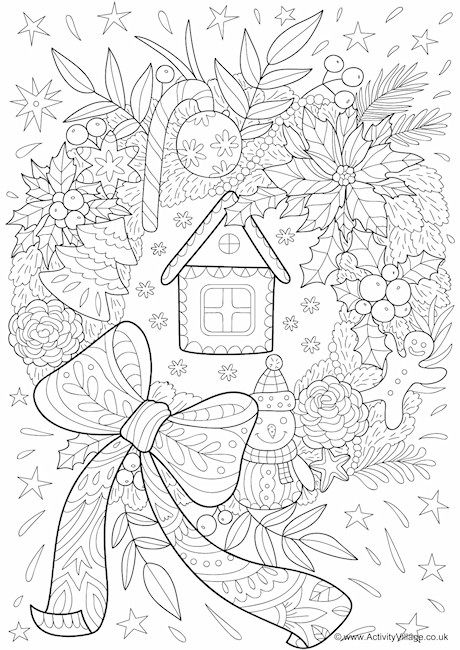 Christmas wreath doodle colouring