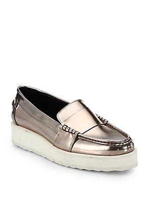 464a2edd3ee Pierre Hardy Metallic Leather Platform Loafers