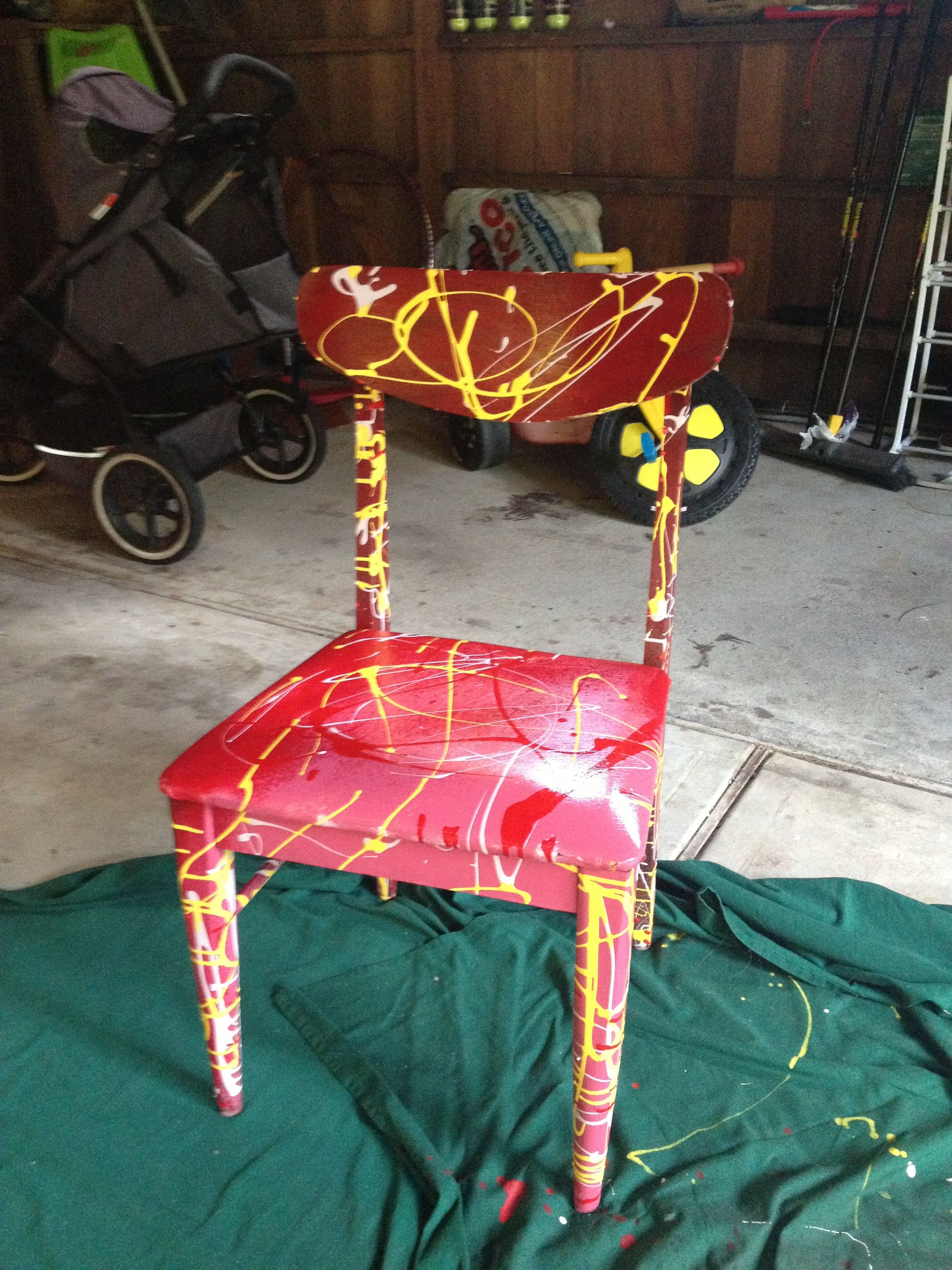 DIY Splatterpaint chair  Chairs  Painted chairs