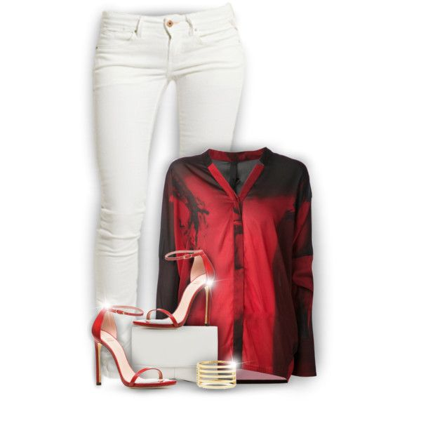 Red & White by fortheloveofpoly on Polyvore featuring moda, Ilaria Nistri, Replay, Stuart Weitzman, Narciso Rodriguez, Kenneth Jay Lane and Trilogy