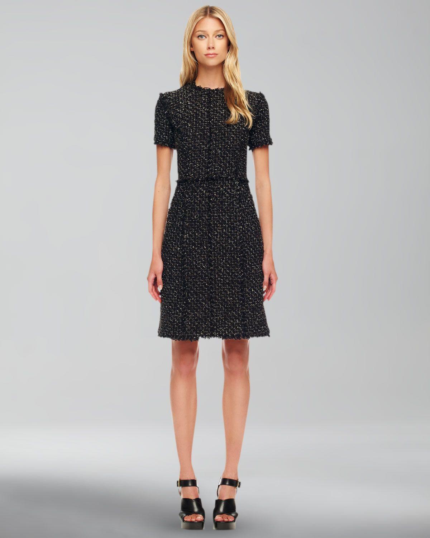 Wal g wrap detail dress with metallic stripe in blue navy lyst - Michael Kors Black Metallic Tweed Dress Lyst