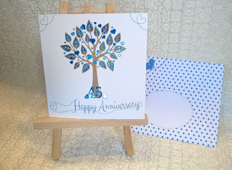 Sapphire Wedding Anniversary Card. 6 inch Square. Tree