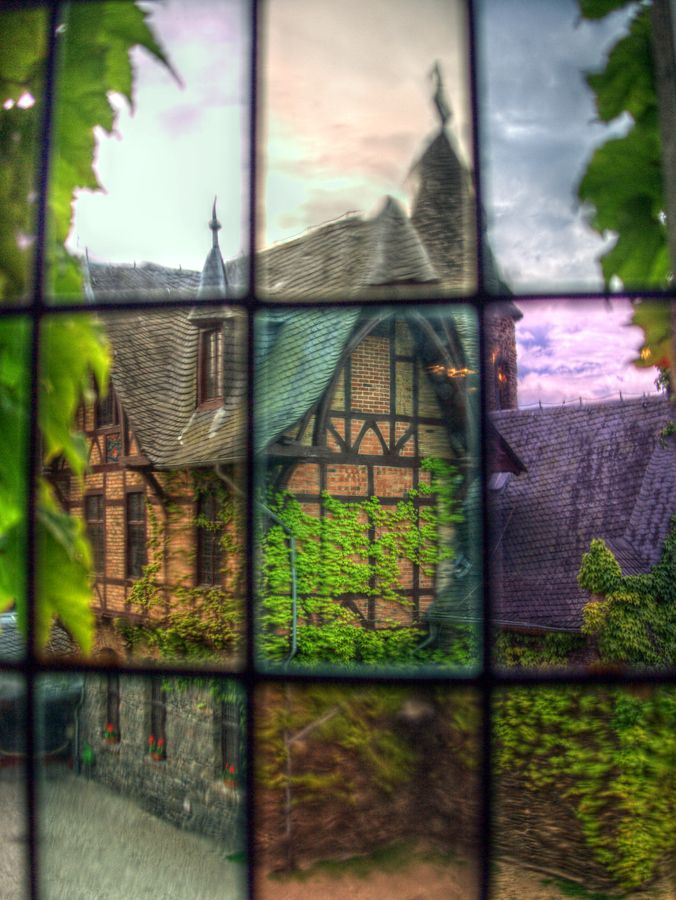 Through the window of one of the buildings of Burg Cochem.