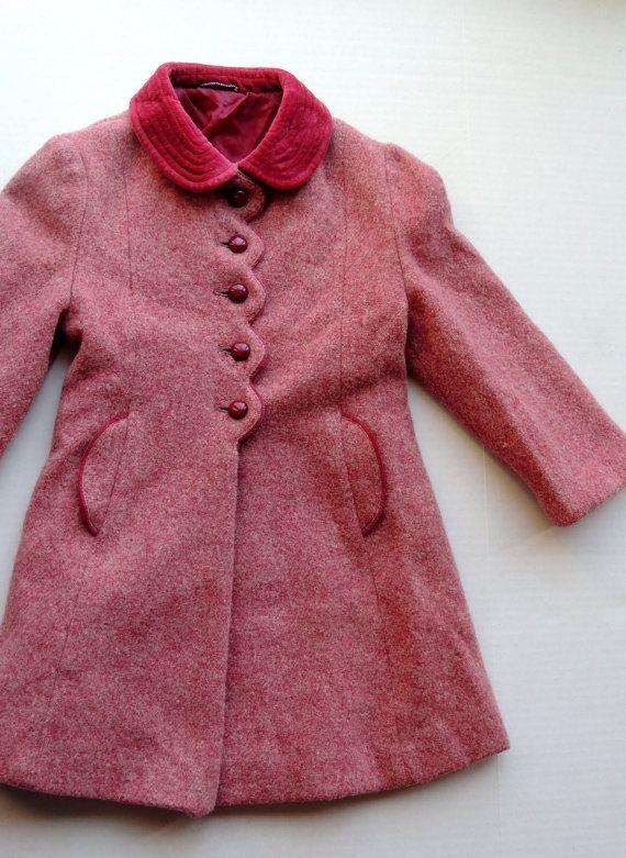 6b65c2ea54da Vintage Mauve Pink Long New Wool Winter Coat Jacket Pea Coat with ...
