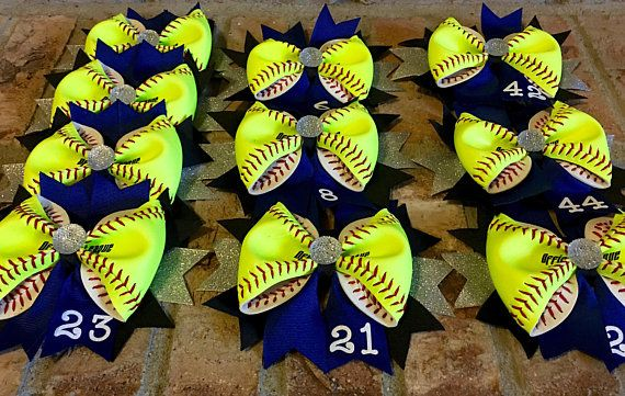 Lot of 12 Bulk Personalized Softball Team BowsGreat for