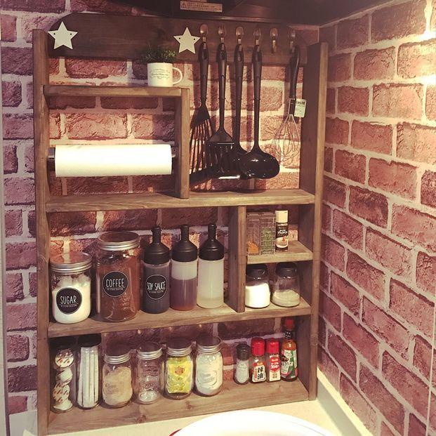 小さなキッチンでもおしゃれに 調味料棚 の作り方 小さな