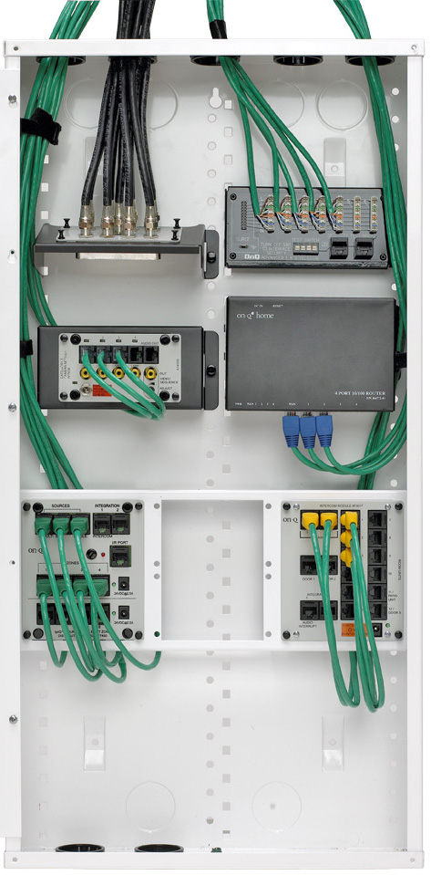 onq wiring panel with optional modules | home & design ... home media wiring