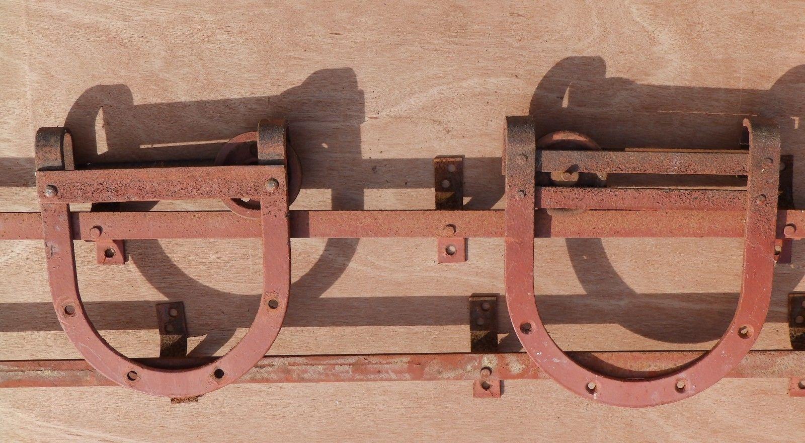 Antique wide barn door rollers pulleys sliders horseshoe