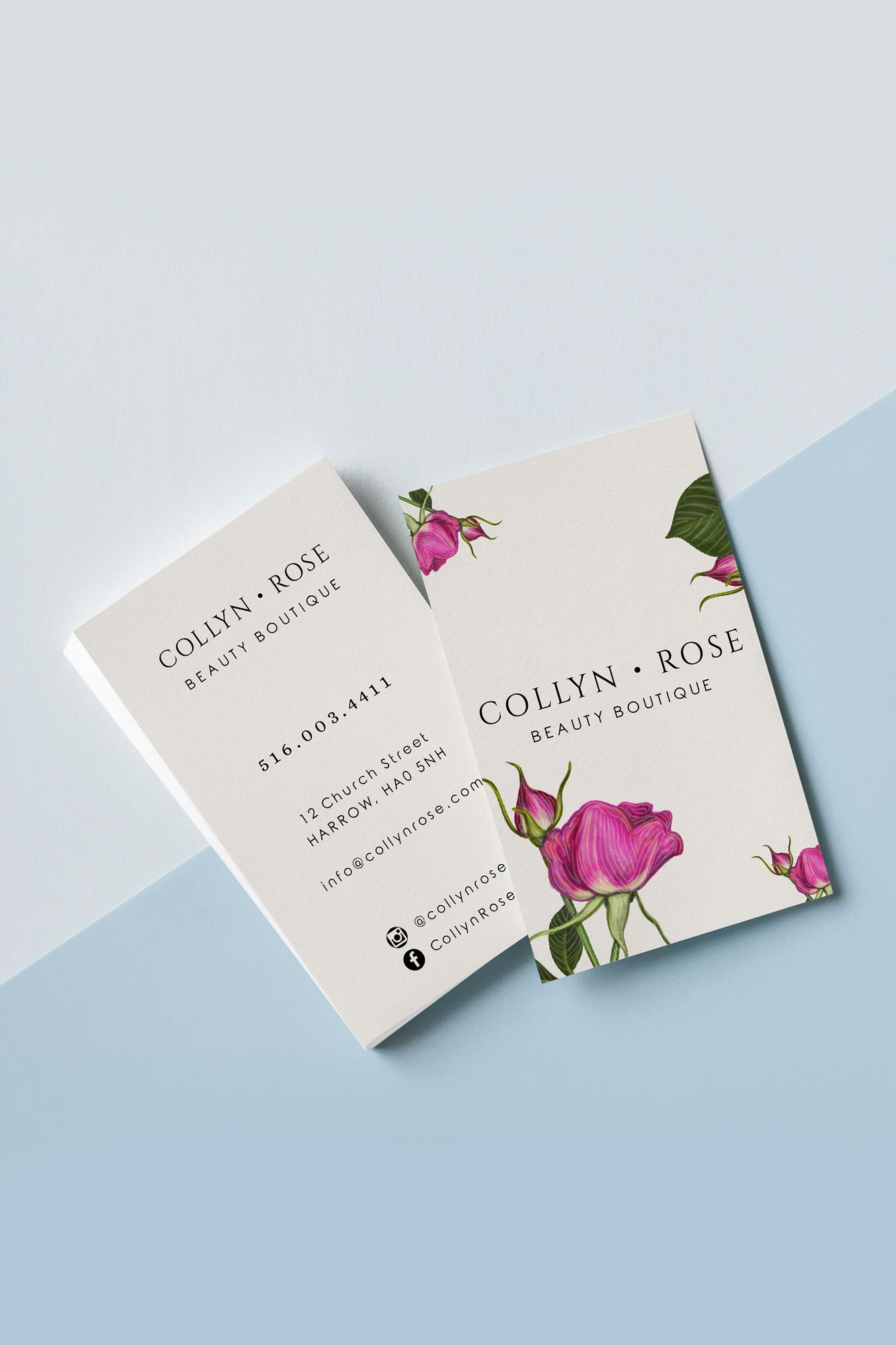 Rose Business Card Template Editable Business Cards Name Etsy Florist Business Card Business Card Design Creative Business Card Template
