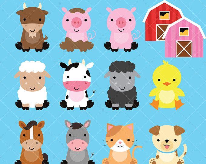 Cute Animal Clipart Set Mega Pack Of 20 Cute Animal Vector Graphics Woodland Farm Zoo Backyard Commercial Or Personal Use Hi Res Imagenes De Animales Caras De Animales Animales Bonitos