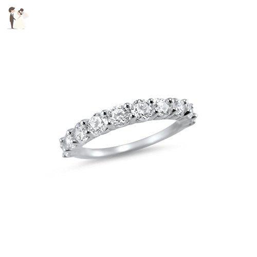 1 Carat 10 Stone Half Eternity Moissanite Wedding Ring 14k White Gold Band Charles And C Wedding Ring 14k White Gold 14k Wedding Rings Yellow Gold Wedding Ring