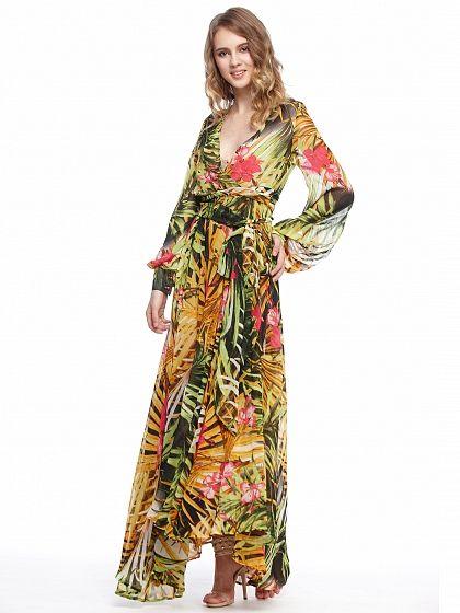 Yellow V-Neck Floral Dress