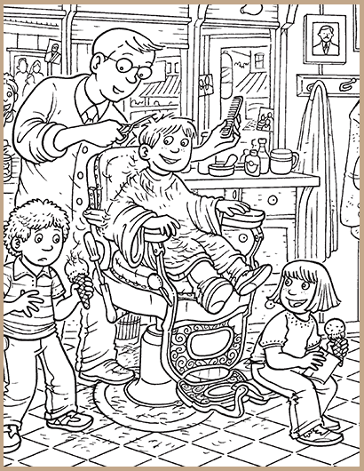 Barber #6 (Jobs) – Printable coloring pages | 530x410