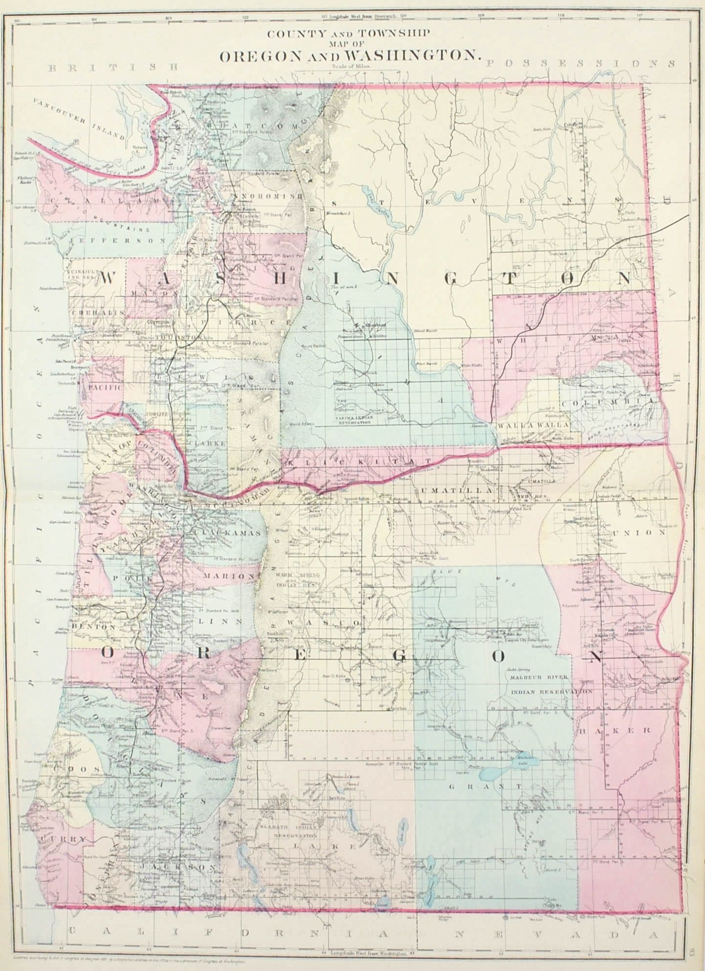 County And Township Map Of Oregon And Washington