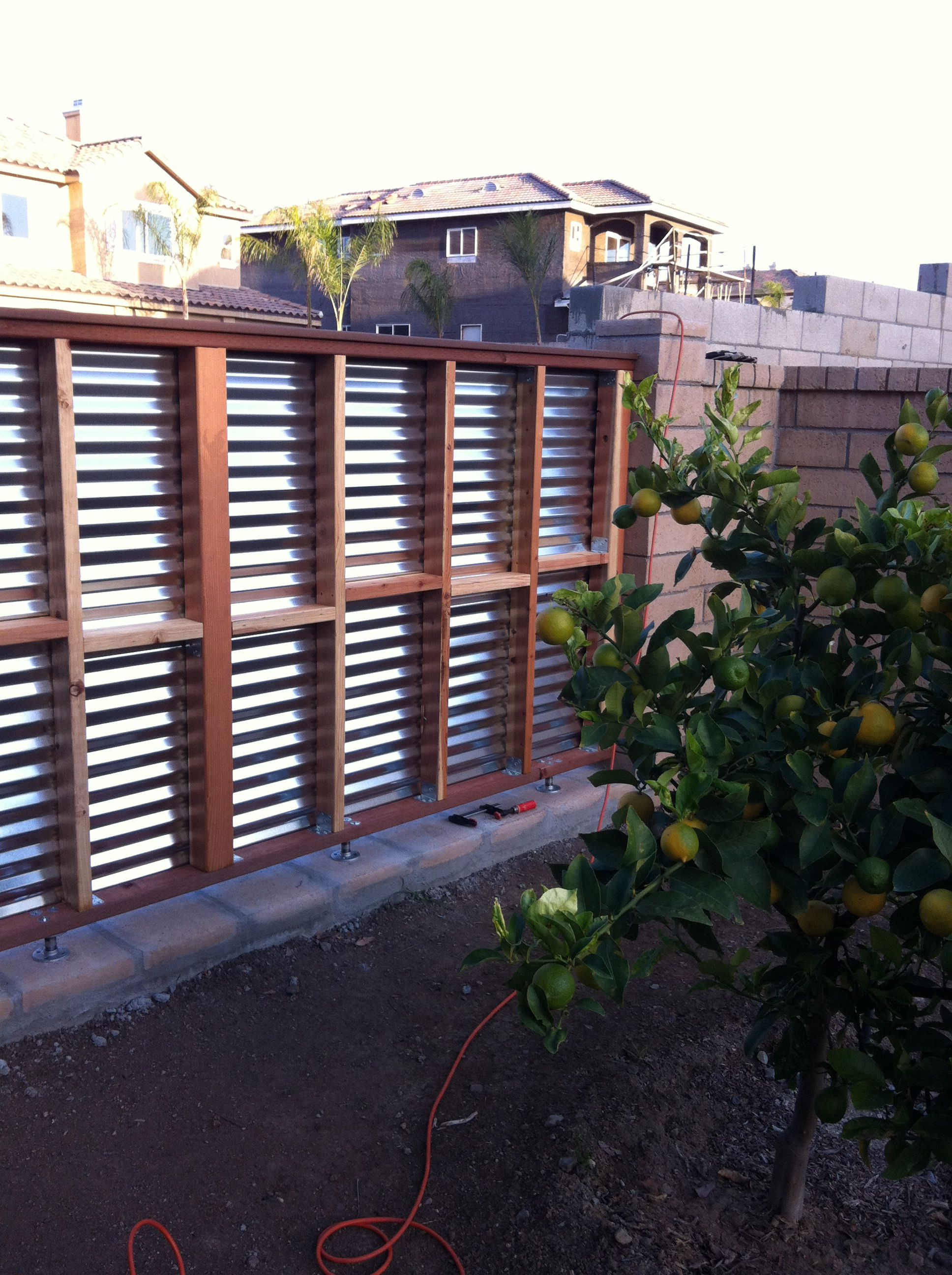Diy Corrugated Metal Fences: DIY Fence Section Made Of Wood Frame And Corrugated Tin