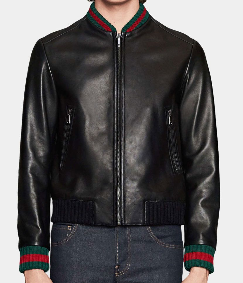 4bcb5ab5d Leather jacket with Web - Gucci Replica | Gucci Leather Bomber ...