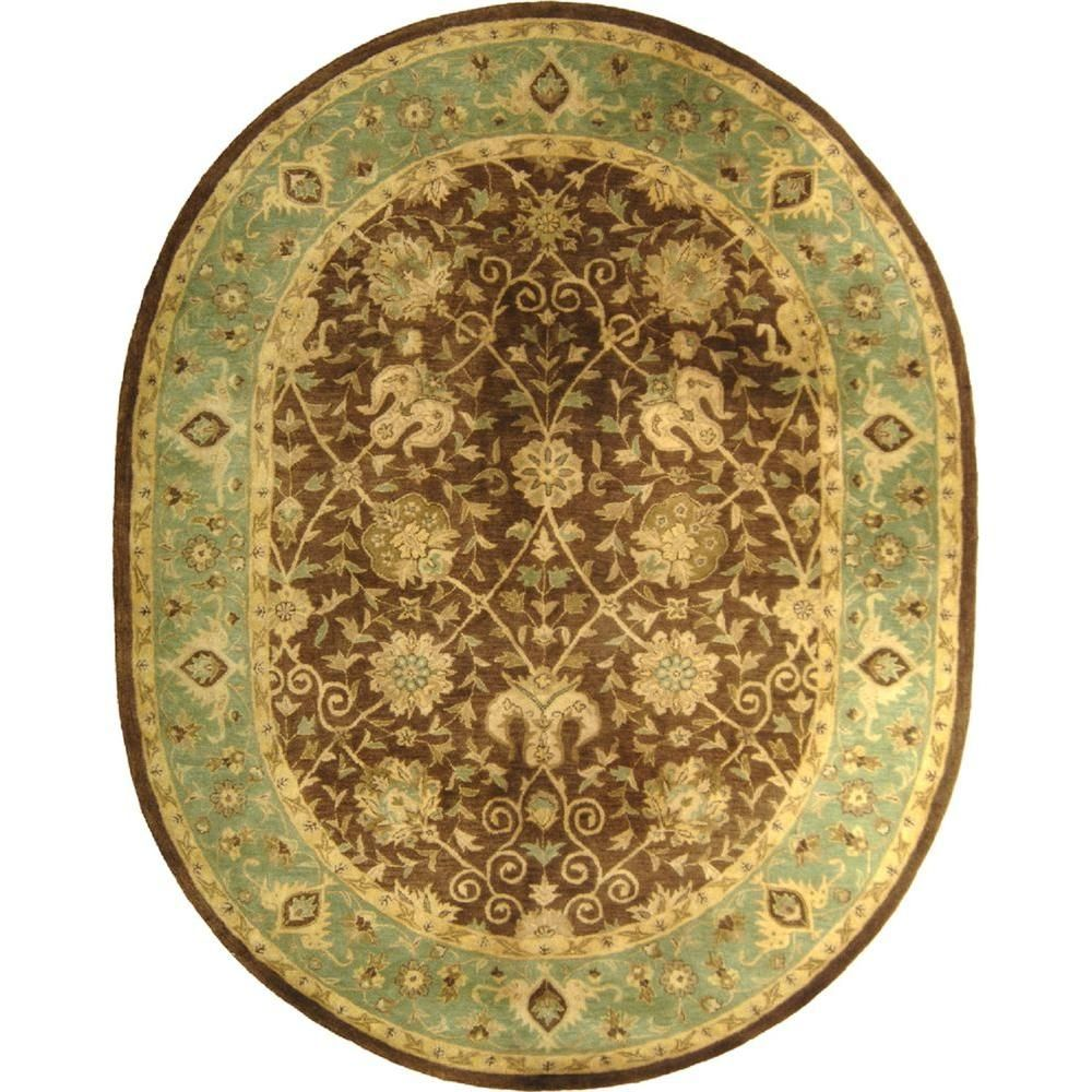 Antiquity Brown Green 4 Ft 6 In X 6 Ft 6 In Oval Area Rug