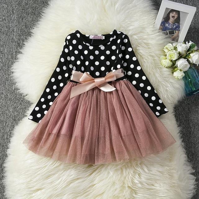Long Sleeve Baby Girl Dress Newborn Infant Baby Girls Clothes Bow Dot Long Sleeve Polka Dots Tulle Tutu Ball Gown Party Dresses #babygirlpartydresses