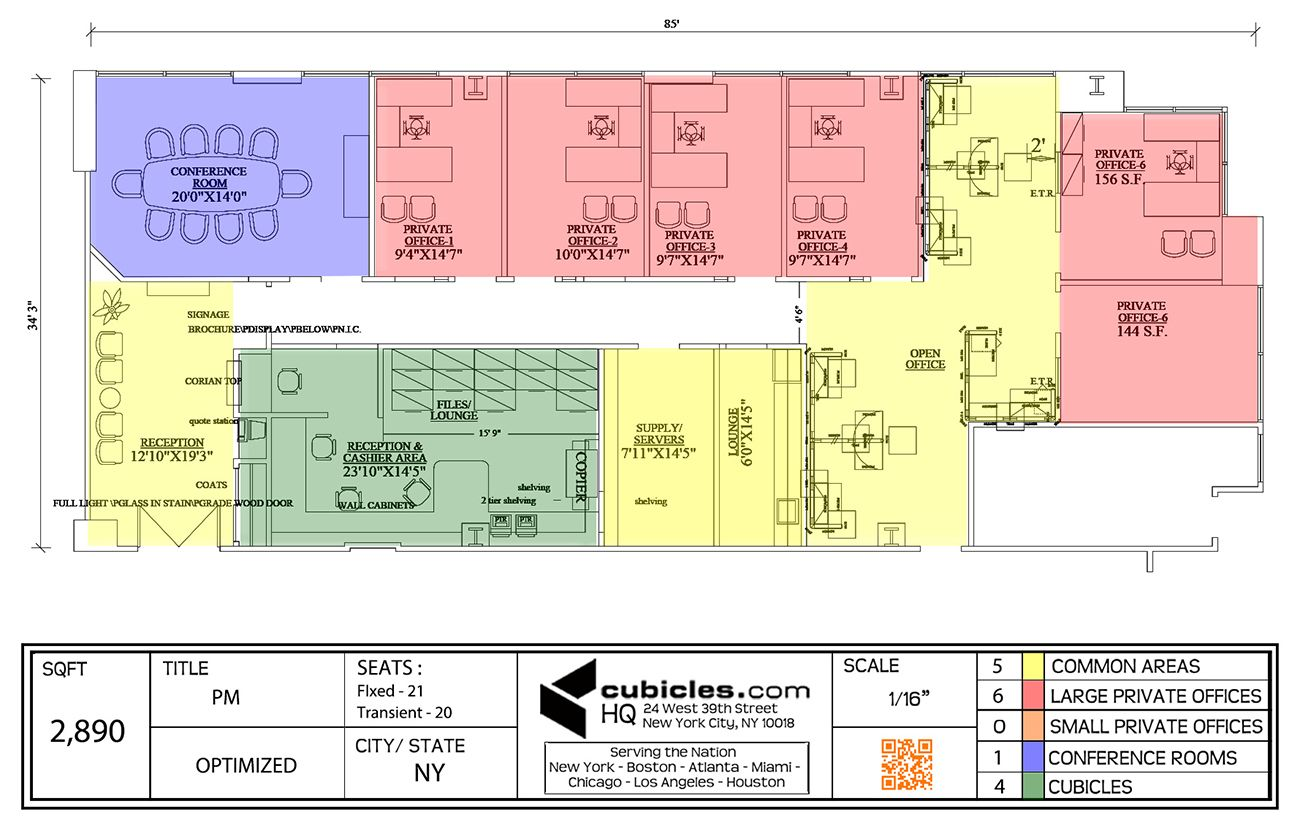 Office layout with common areas large private offices for Cubicle floor plan