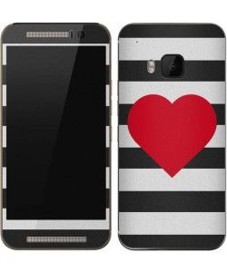 Black And White Striped Heart One M9 Skin