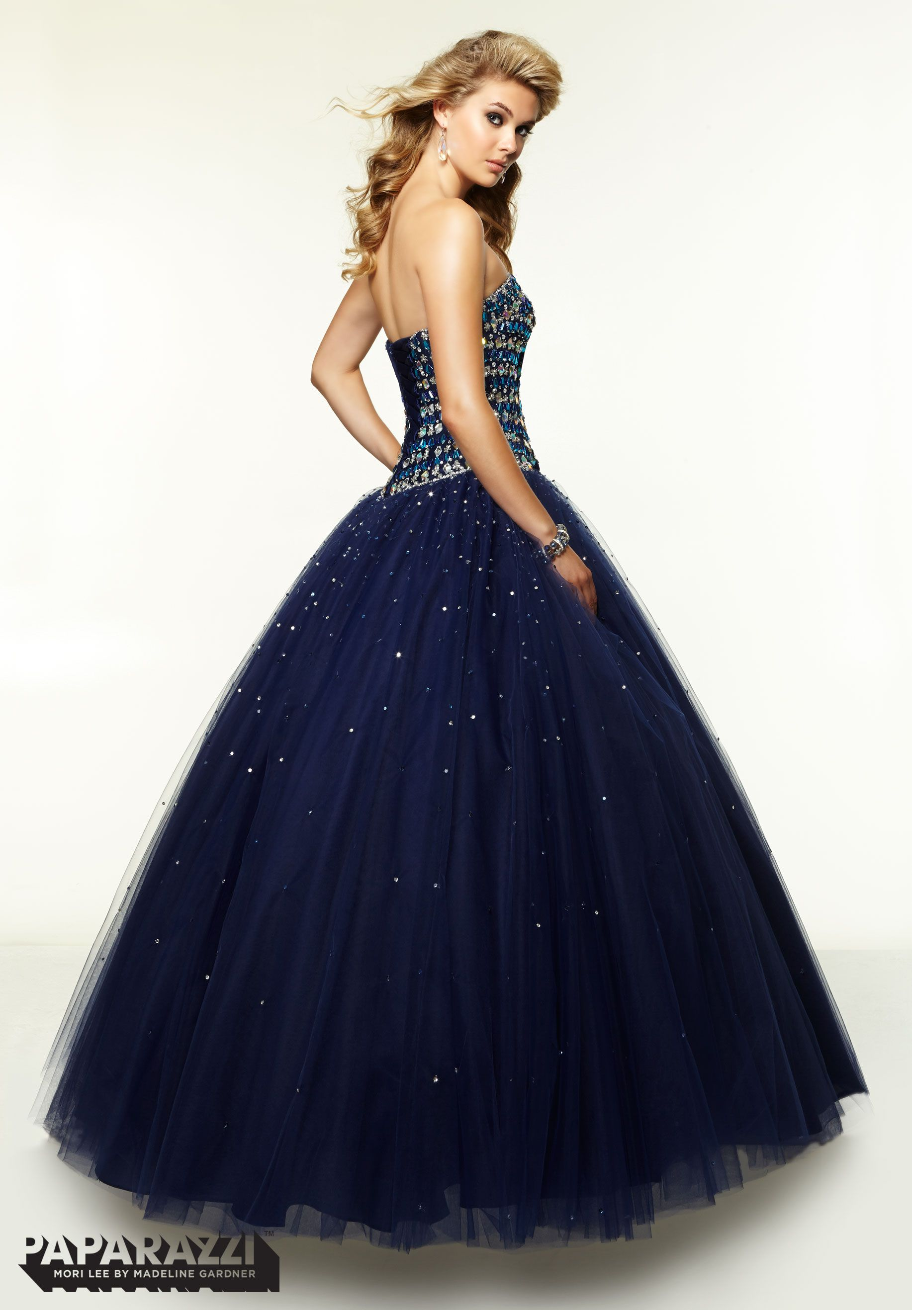 Prom dresses gowns style jeweled beading on tulle ballgown