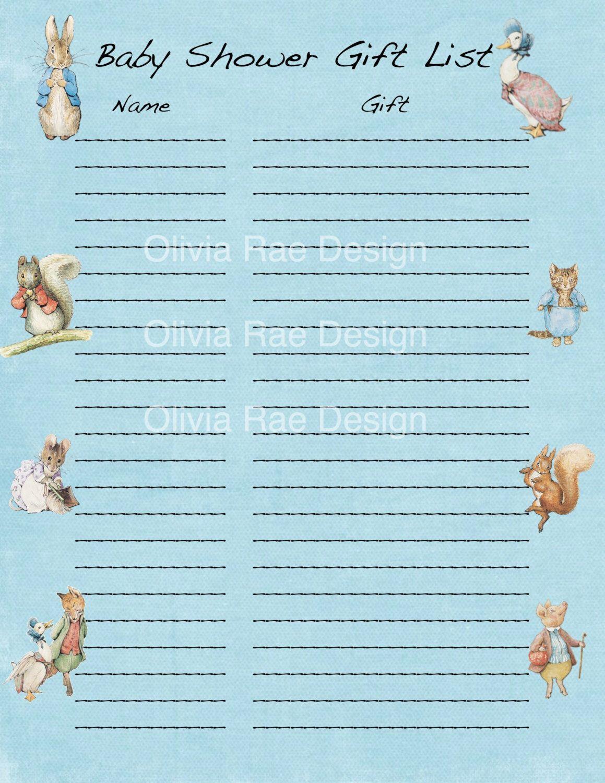 Beatrix Potter Peter Rabbit Baby Shower Gift List by OliviaRaeDesign on Etsy https://www.etsy.com/listing/203681621/beatrix-potter-peter-rabbit-baby-shower