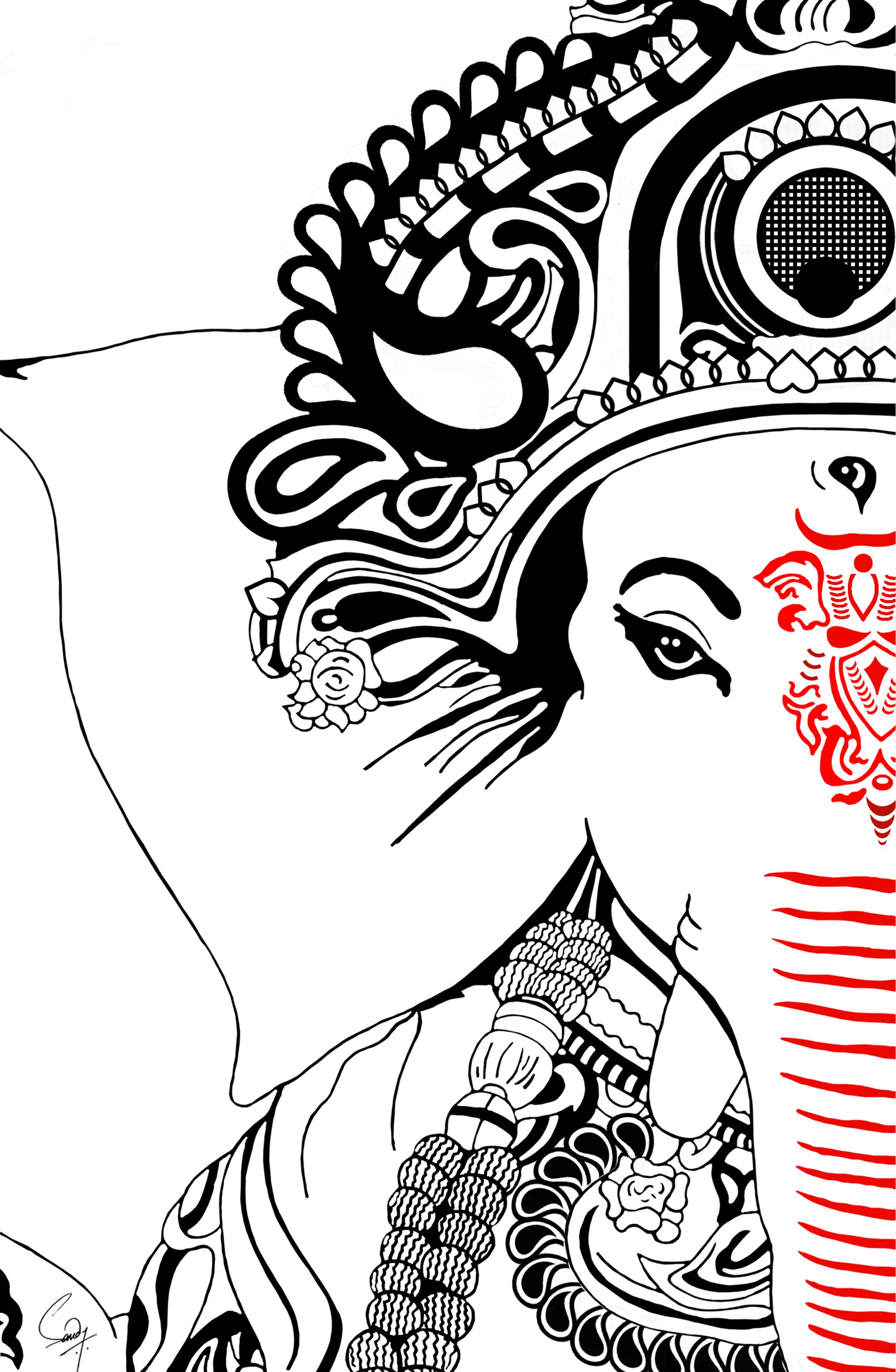 Ganpati Painting The Ever Watchful Ganesh Art Paintings Ganesha Art Mandala Design Art