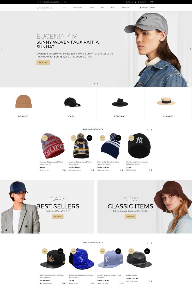 Fashion Shopify Theme No 77542 Shopify Theme Hats Fashion Shopify Themes Shopify Theme