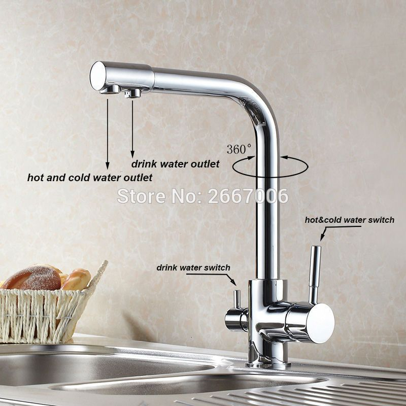 Free Shipping Drink Water Faucet Kitchen Purifier Faucet Filter Taps Brass Taps Chrome Color Water Crane Dual Spout Water Faucet Kitchen Faucet Drinking Water
