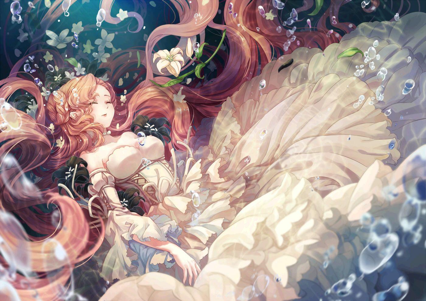 Breasts bubbles cat princess cleavage code geass dress euphemia li britannia flowers long hair pink hair sleeping underwater water anime artwork