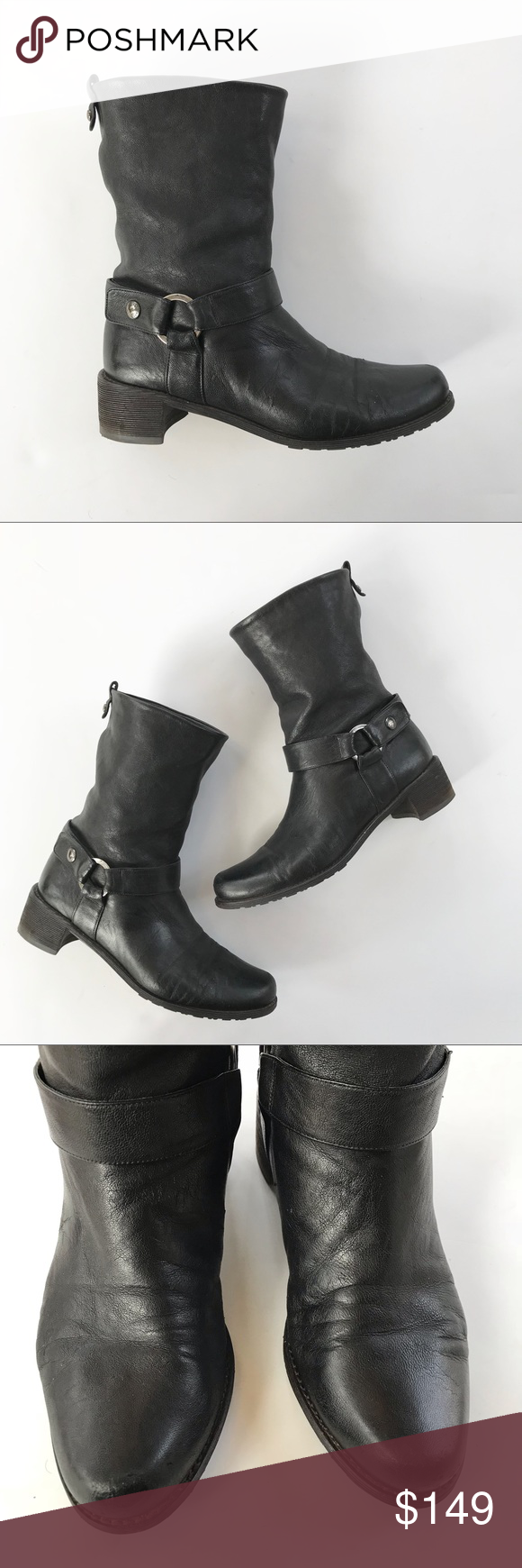3421dd9bf9 Stuart Weitzman Black Moto Pull On Boot 8 Butter soft these Stuart Weitzman  moto boots offer comfort and style. Easy pull on styling.