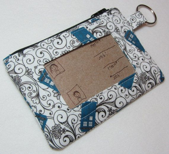 Keychain Wallet with ID Pocket and Split Ring by EarlyBirdStitches, $18.00
