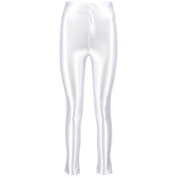Boohoo Avah High Waist Super Stretch Satin Disco Trousers | Boohoo (65 BRL) ❤ liked on Polyvore featuring pants, white pants, white stretch pants, basic white t shirt, stretch pants and basic t shirt