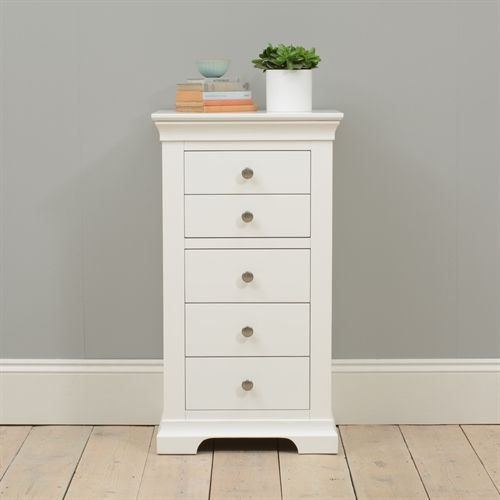 Chantilly White Tall  Drawer Chest