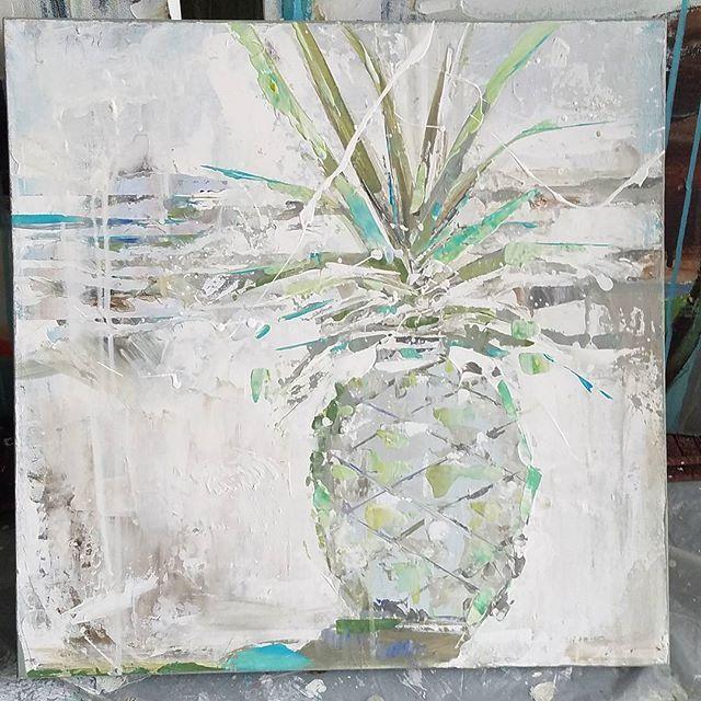 """White wash""  20x20.  #pineapplepainting #pineapple #fruitofhospitality #abstract #coastalabstracts #coastalpalette #beachchic #beachlifestyle #interiordesign #design #hawaii #caartist #californiaartist #sandiego #coronado #laguna #columbia #contemporaryart #kymdelosreyesart #sandiegoconnection #sdlocals #coronadolocals - posted by Kym De los Reyes - Artist https://www.instagram.com/kymdelosreyesart. See more post on Coronado at http://coronadolocals.com"