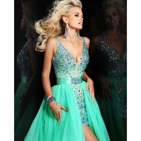 Sheath V-neck Crystal Tulle Sexy Detachable Train Short Prom Dress ...