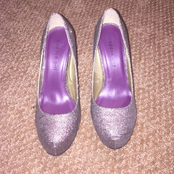 Madden Girl sparkly heels 3 inch sparkly heels from Madden Girl. Silver, purple, green sparkles Madden Girl Shoes Heels