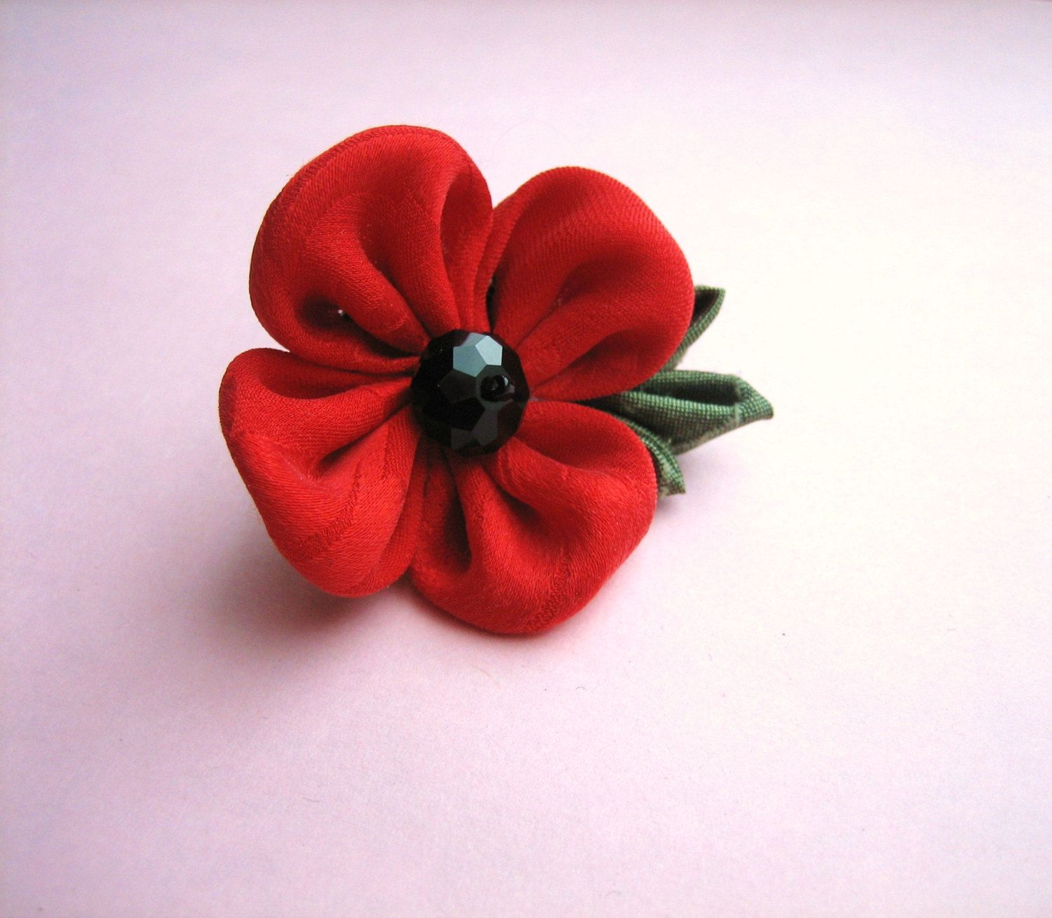 Mens Red Flower Lapel Pin Remembrance Poppy Kanzashi By