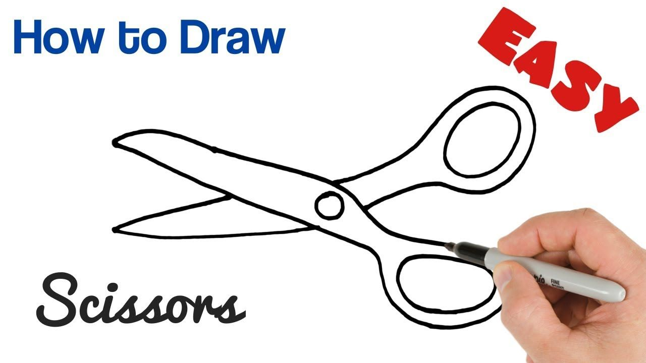 How To Draw Scissors Easy Art Tutorial Step By Step Drawing Scissors Drawing Easy Drawings Sewing Machine Drawing