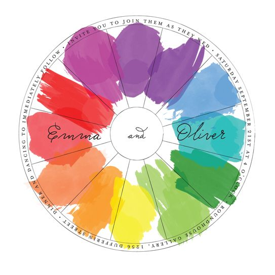 Perfect Match Wedding Color Wheel Invitations