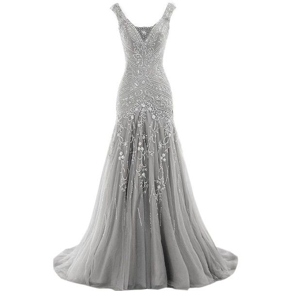 H.S.D Womens Mermaid V Neck Beaded Long Prom Dress Evening Gowns (545 RON) ❤ liked on Polyvore featuring dresses, gowns, white evening gowns, long evening gowns, white gown, white dress and white ball gowns