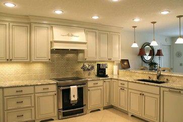 Woodharbor Cabinetry, Worthington Door Style, Painted Coastal White With  Taupe Glaze Kitchen Cabinets,