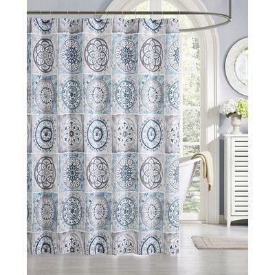 Luxury Home Devon 13 Piece Faux Silk Shower Curtain Set Color Blue Gray