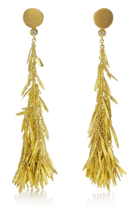 These 18kt gold Feather Earrings by H. Stern are so gorgeous, they make me weak in the knees, $6700.
