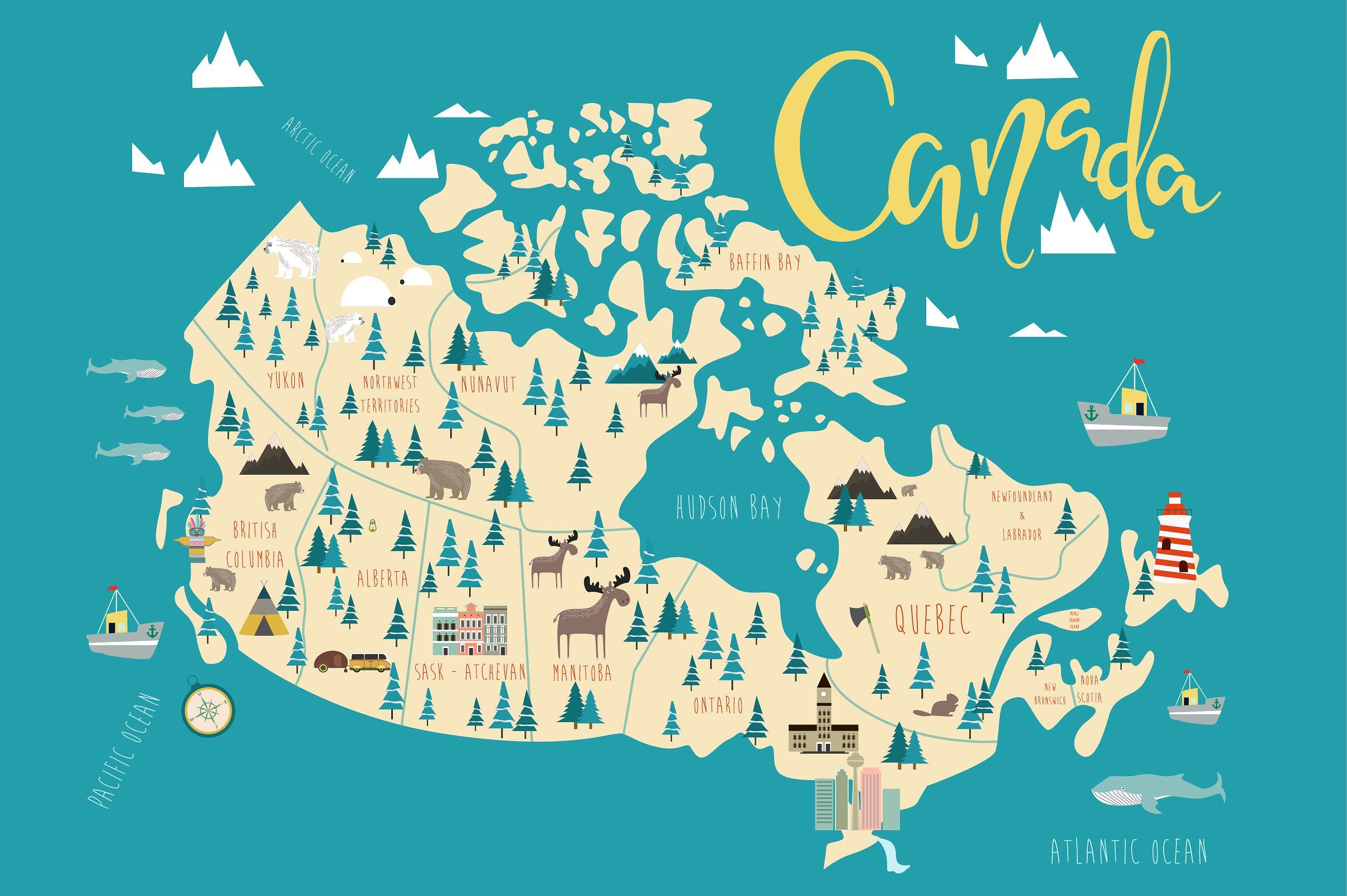 Mio Map Canada Illustration of Canada map | Canada map, Travel infographic