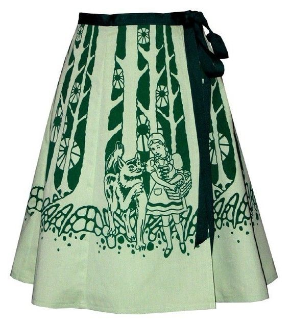 schwarzwalder skirt green cute gnomes /& deer frolic in the forest among the toadstools