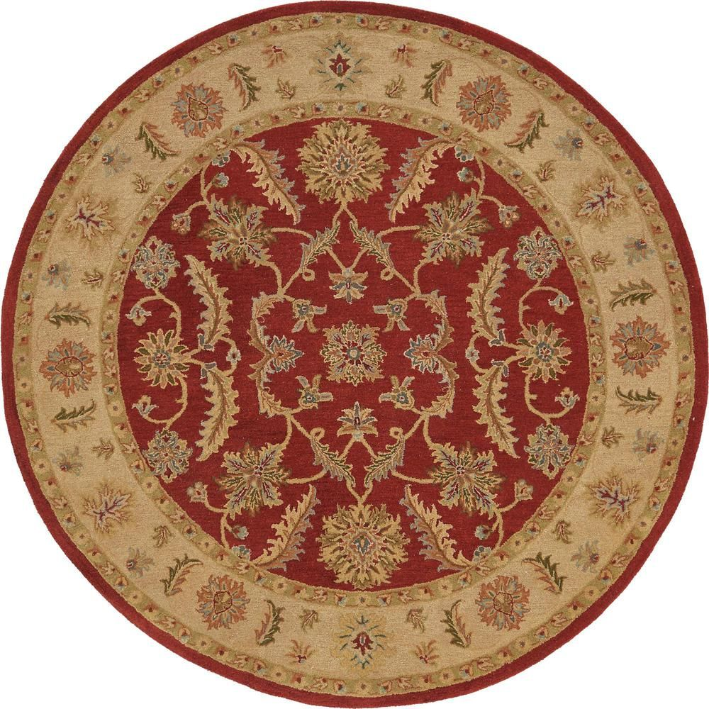 Agra Red 8 Ft X 8 Ft Round Area Rug Round Area Rugs Rugs