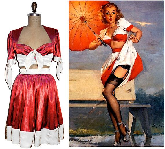GORGEOUS Vargas Pin Up Blouse and Skirt as used for by pinkpurr, $199.00