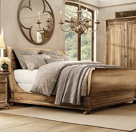 St James Sleigh Bed With Footboard Antiqued Natural Home Home Decor Home Bedroom
